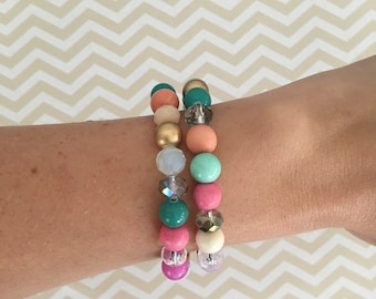 Your choice colorful beaded stack bracelet, boho stack bracelet, jade bracelet, glass bracelet, wood bracelet, statement jewelry