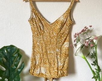 Jantzen Vintage Mustard Knit Swimsuit or Bodysuit- Medium