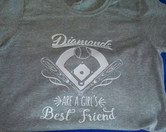 Diamonds are a girls best friend t-shirt baseball field