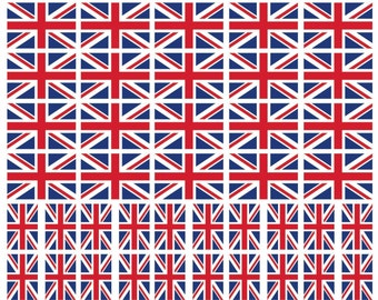 40 Removable Stickers: United Kingdom UK Flag, Great Britain Union Jack British Party Favors, Decals