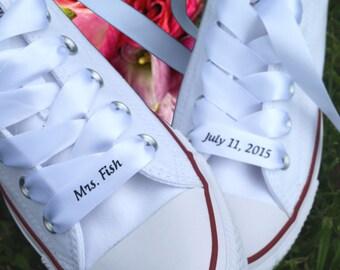 Custom #Wedding #Converse Ribbon Laces Satin White, #engagement #gift, #Couples Gift, #Anniversary Gift, #weddingideas, by #NoOrdinaryBling