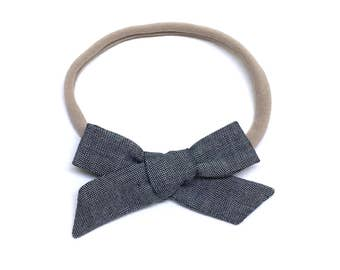 Baby Bow Headband - Chambray Hand Tied - Baby Headbands - Also available on clip