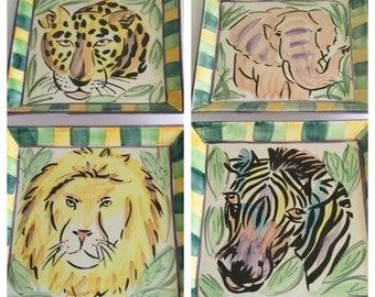 Vintage Strata Group Plates, Jungle Spree ll Plates, Vintage Wall Decor, Childern's Room Decor, Jungle Theme Plates, Animal Theme Plates