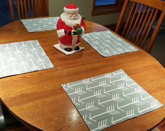 Arrow Grey Quilted Placemats - Set of 4 and Free Shipping!