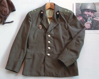 soviet officer military jacket with a badge as a gift | original USSR army khaki uniform coat with buttons with stars | military propaganda