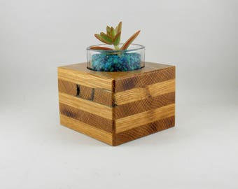 succulent or cactus planter, tea light/candle holder, pen and pencil holder, Paper weight, mother's day gift, Reclaimed Wood
