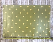 Pale Green Polka Dot Pattern Floor Cloth, Neutral Home Decor, Country Chic Decor, Painted Canvas Rug
