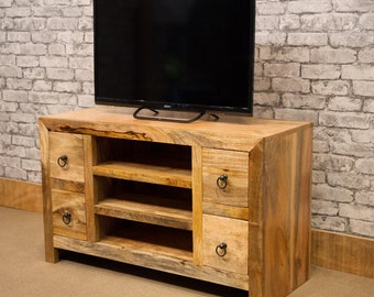 Solid natural Mango wood TV cabinet with 4 drawers - Cast iron ring handles - Mantis range MANT-128
