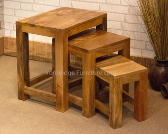 Nest of 3 occasional tables made from solid natural light Mango wood - Mant-134