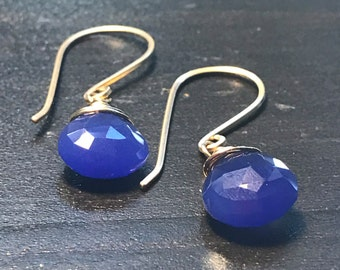 Dark cobalt blue Chalcedony gemstone earrings. Wedding earrings. Bridal earrings. 14k gold filled earrings. Free shipping within USA.