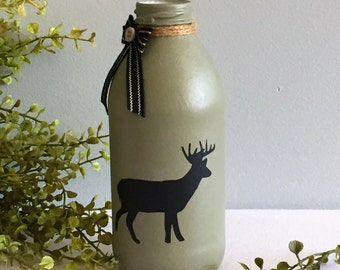 Country Home Decor / Buck Deer / Painted Glass Jar / Olive Sage Green / Lodge Decor / Hunting Decor / Gift for Hunter /  Outdoorsman Gift