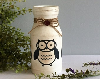 Owl Decor / Painted Glass Jar / Country Home Decor / Shabby White / Woodsy Decor / Cabin Decor / Bird Watcher Gift / Nature Lover Gift