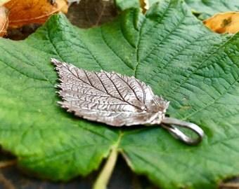 Sterling Silver Raspberry Leaf Pendant