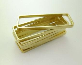 20pcs High Quality Large Brass Rectangle Geometry Frame Links Connectors Pendants Versatile Minimal Simplicity Gold Tone 38 x 15mm 0103-0125