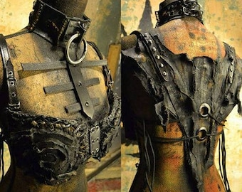 The Diviner SceneSick Stagewear Post Apocalyptic Wasteland Gothic Deathrock Witch Horror Biker Bra Bodice Halter Adjustable Top remo Collar