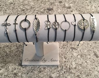 Silver charm connector Bracelets bracelets adjustable xs to xxl! FREE international SHIPPING!