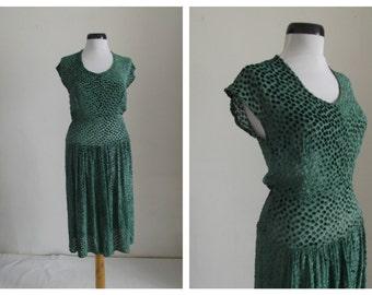 1920s Dress/ 20s Sheer Velvet Silk Dress/20s Emerald Velvet Dress