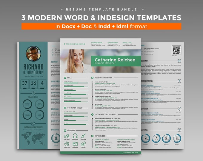 Professional Resume Template / CV Template Bundle, 3 Curriculum Vitae Design + Cover Letter in MS Word and InDesign format. Tutorial Videos
