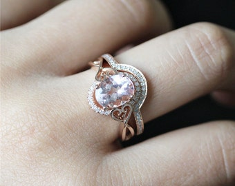 14K Rose Gold Morganite Engagement Ring Set Natural Oval 7*9mm Morganite Ring Curved Half Eternity Pave Diamonds Ring Gold Wedding Ring Set
