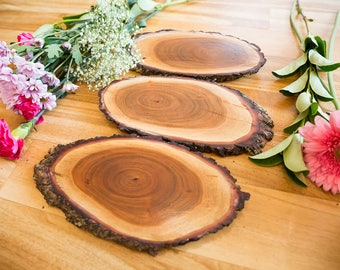 Set of 3 Timber slices, cheese platters, home decor, party supply