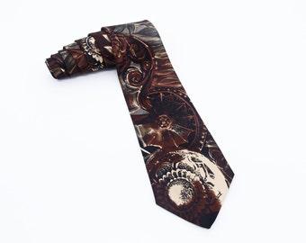MERCEDES SILK TIE Vintage Mercedes Designer Necktie with Wheel Pattern Car Enthusiast Tie