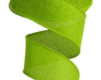 "1.5""X10yd Cross Royal Burlap Lime Green"