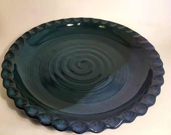 Pottery pie plate, ceramic pie plate, stoneware pie plate, wheel thrown pie plate, handmade pie plate