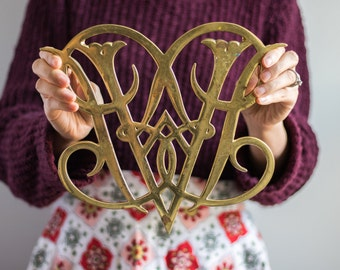 Vintage Solid Brass Trivet, Vintage Monogram Trivet, Williamsburg Brass, Queen Ann Cypher Hot Plate