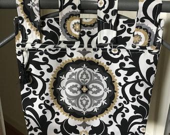 Walker Bag Zippered and Lined Cream/Black/Gray/Gold Design