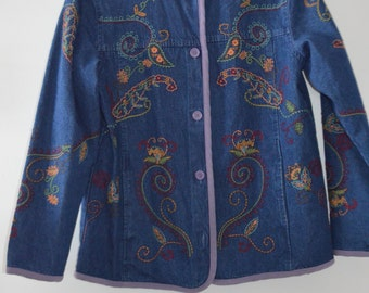Code FOREVER15: 15% Jacket/jacket vintage denim with embroidery and Small purple border