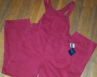 Nautica red overalls / bibs/jumpsuit size large NWT