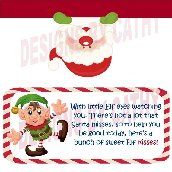 Elf Kisses Goody Bags Bag Toppers From