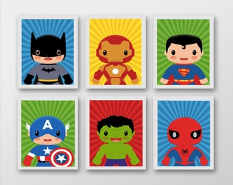 Set 6 Superhero Prints - Mix and Match