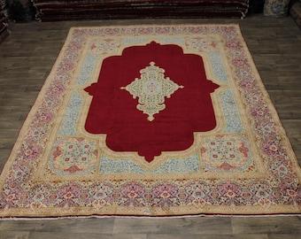 Breathtaking Handmade Signed Red Kerman Persian Rug Oriental Area Carpet 10X13