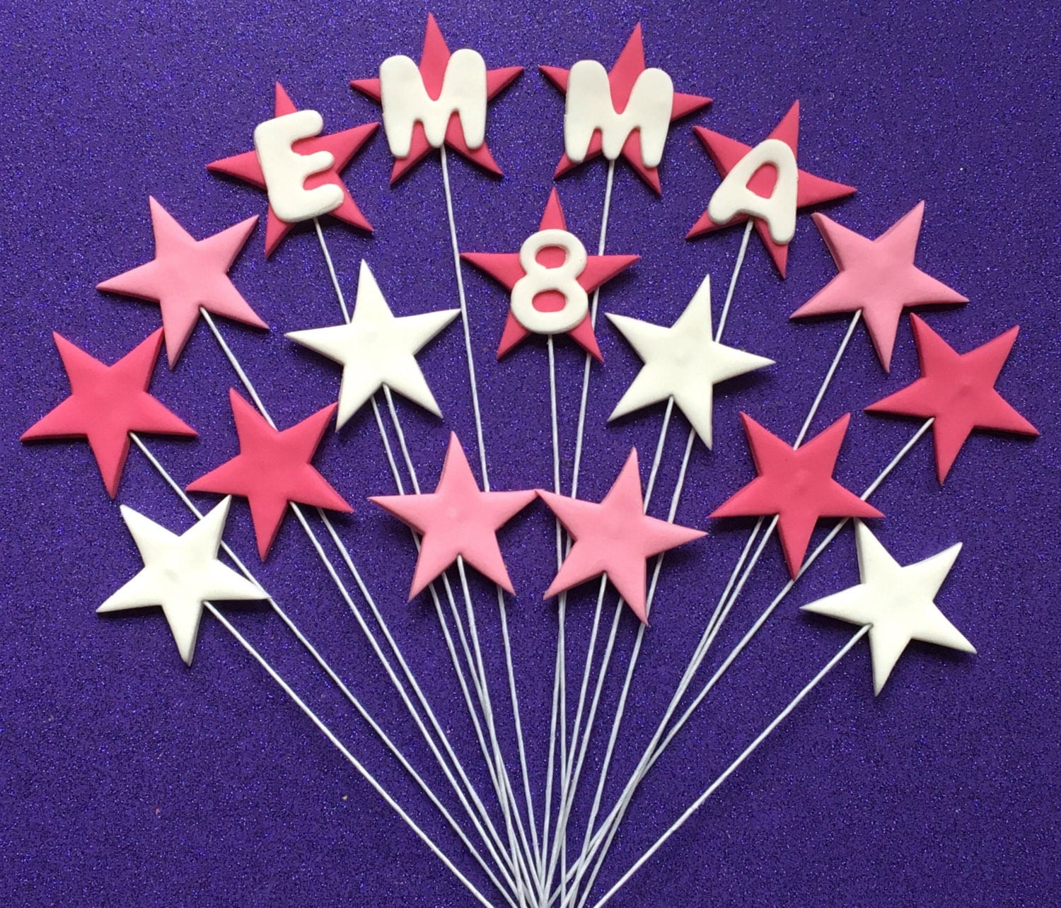 Edible Cake Decorations Stars : Edible fondant STARS on wire cake toppers. Birthday cake
