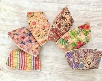Natural colorful cork coin purse, Cork-leather, eco-friendly bag, gift for her, gift idea