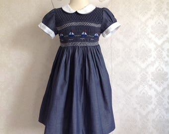 "Blue short sleeve dress Red White Blue ""barchetta"""