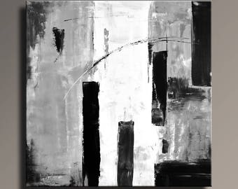 ABSTRACT PAINTING Black White Gray Painting Original Canvas Art Abstract Modern Art 36x36 Wall Decor - Unstretched - 53GWB