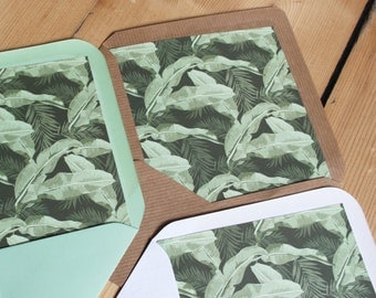 Tropical Envelope Liners, Wedding Envelope Liners, Destination Wedding Envelope Liners, Palm envelope liners