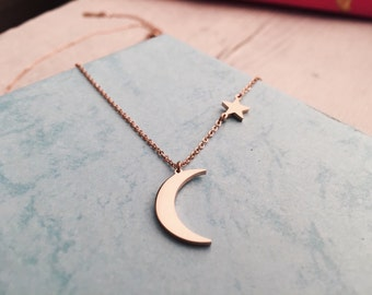 Rose Gold Necklace with Half Moon Charm Delicate Necklace with Star and Moon Pendant