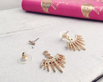 Ear Jackets Earrings in Gold  Ear Studs with Rhinestones nickel free