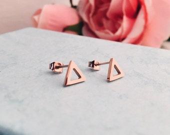 Triangle Ear Studs Rosegold | Small Earrings Geometric Earrings Minimalist Jewellery