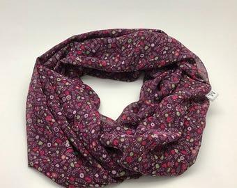 Purple round scarf mini flower