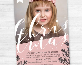 Christmas mini session template, Holiday Mini Session Template, Photoshop PSD, Christmas Photography Marketing, instant download