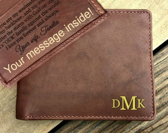 Anniversary Gift Custom Wallet, Fathers Day Gift For Him Wallet, Valentine Wallet, Leather wallet gifts, Engraved, Leather • Toffee  7751*