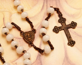 puffed heart 1800 's antique rosary