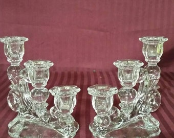 Glass 3 candle  candle holders set of 2