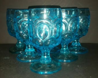 Moon and star blue goblets. Set of 6.