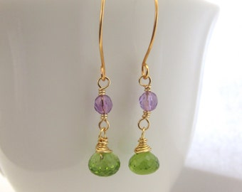 Peridot Earrings Amethyst Earrings August Birthstone Purple Green Earrings gemstone earrings gift women gift for mom bridesmaid gift
