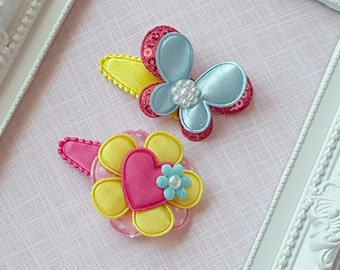 Baby Clip - Infant Toddler Clip -  Baby Snap Clips Set of 2  - Flower - Butterfly
